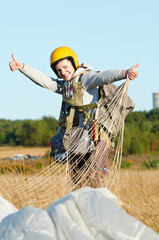 Parachute jumper after landing
