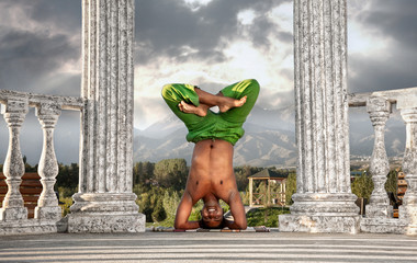 Yoga head stand lotus pose