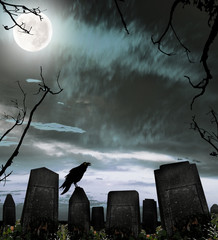 Dark cemetery with raven silhouette