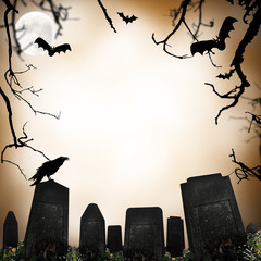 horror scene with cemetery, nrave and bats silhouettes