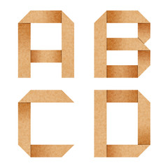 A,B,C,D Origami alphabet letters from recycled paper with clippi