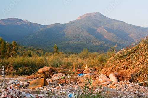 illegal garbage dump in countryside