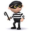 3d Burglar with crowbar