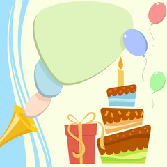 Birthday card with cake and gift box