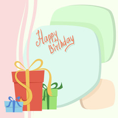 Birthday card with set of gift box on background
