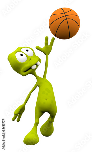 alien cartoon in basketball