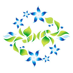 Element of an ornament with green foliage and blue flowers 4