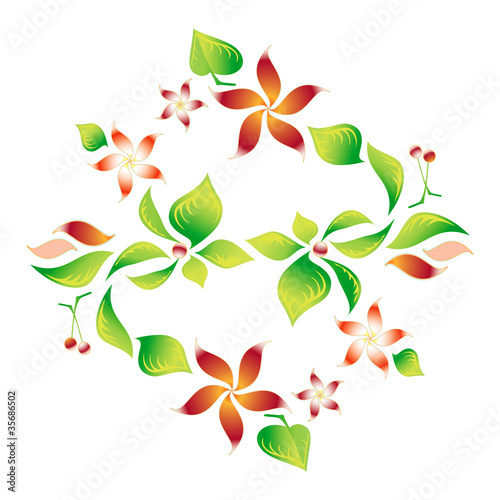 Element of an ornament with foliage, red flowers and cherry 8