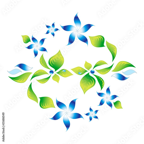 Element of an ornament with green foliage and blue flowers 5