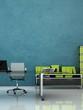 Bürodesign - Büro mit Schribtish blau grün 2