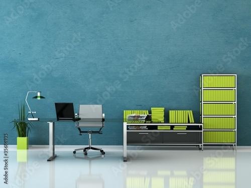 Bürodesign - Büro mit Schreibtisch blau grün