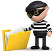 3d Burglar looking through your folders