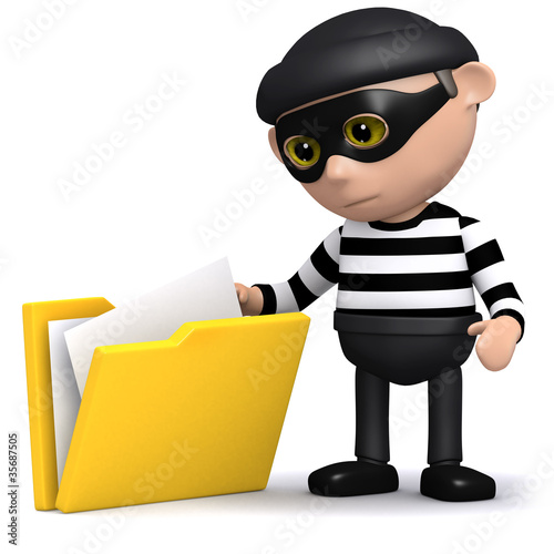 3d Burglar looking through your folders