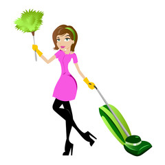 Cleaning Lady Illustration