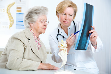 Doctor and patient discussing scan results
