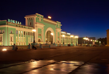 night view of  railway station at Novosibirsk
