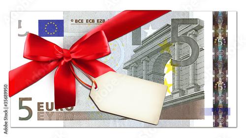 5 Euro mit Schleife und Label