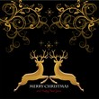 Reindeer black background with gold decorations