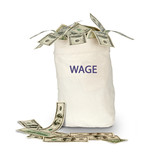Bag with wage poster
