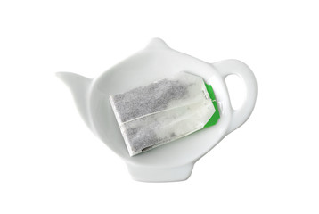 Teabag on teapot shaped saucer