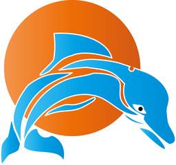 Delfin, Sonne, Logo, Zeichen