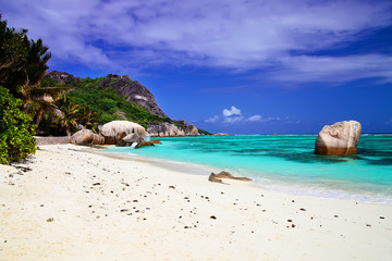 White sandy beach Anse Source d'Argent