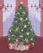 Decorated christmas tree in the living room