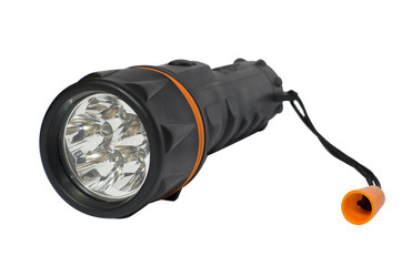 LED flashlight isolated on white background