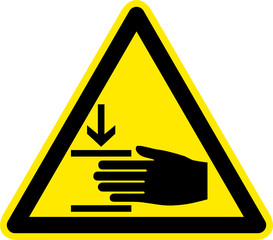 Warnschild Warnzeichen Handverletzungen Quetschgefahr
