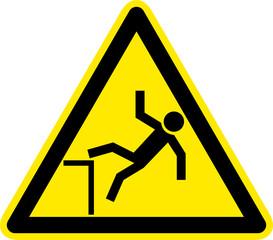Warnschild Warnzeichen Absturzgefahr Unfallgefahr
