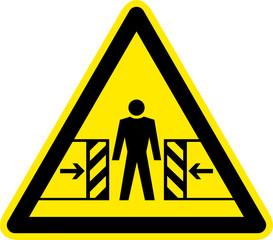 Warnschild Warnzeichen Gefahrenstelle Quetschgefahr