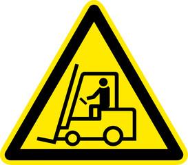 Warnschild Warnzeichen Flurförderzeuge Gabelstapler
