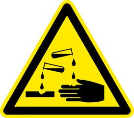 Warnschild Warnzeichen Säuren Ätzende Stoffe Symbol