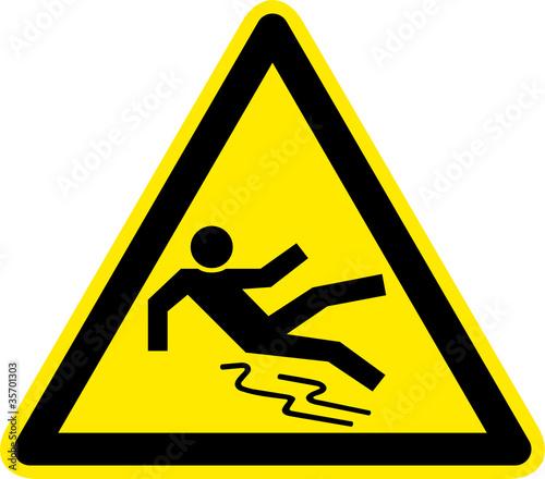Warnschild Warnzeichen Rutschgefahr Glatt Ausrutschen