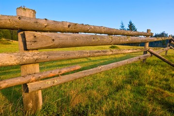 wooden fence on a morning pasture