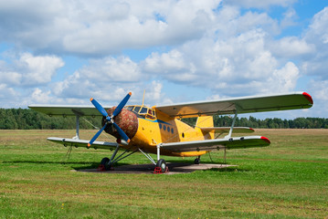 Antonov An-2 agricultural plane stands in the field