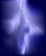 lightning in blue rain sky