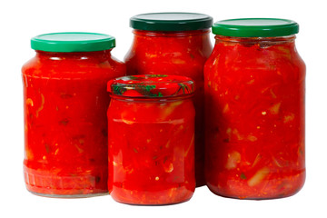 Home canned vegetables in glass jars