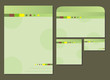 green template blank, visiting card, notes and envelope