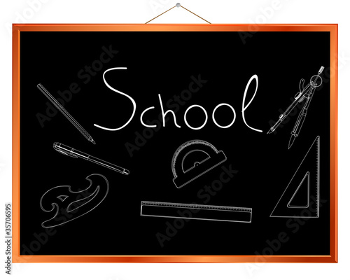 School supplies chalk drawings