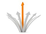 Fototapety orange arrow grow up from white arrows.