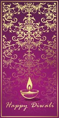 Oil lamp, Diwali greetings card, royal Rajasthan, India