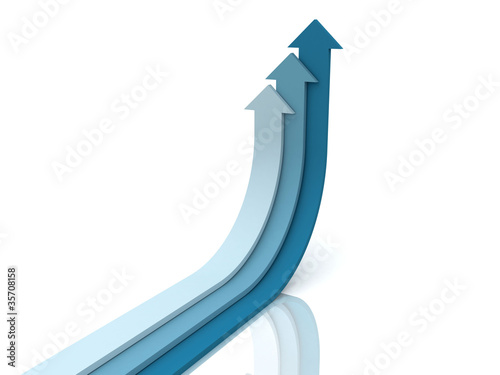 Three blue arrows going up - success concept illustration