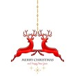 Two hanging red reindeer