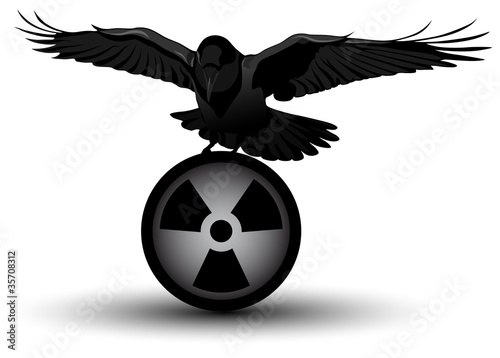 Vector image of a raven on radiation symbol
