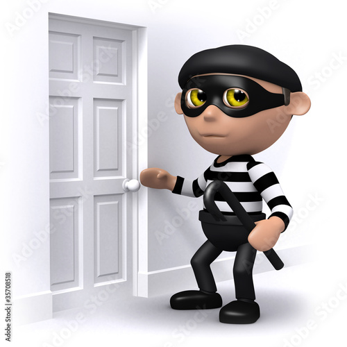 3d Burglar is checking the locks.