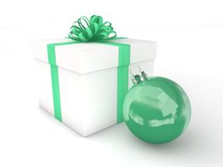 3d Rendering Geschenk mit Christbaumkugel mintgrün