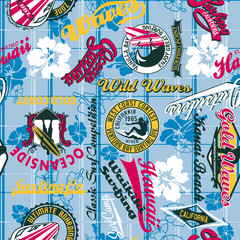 Surfing seamless pattern