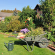 Gartenkarre und Gießkanne im Garten