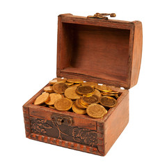 an old trunk with shiny coins